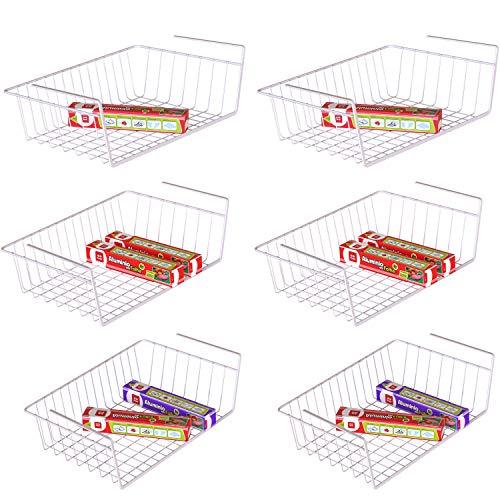 Under Shelf Basket, iSPECLE 6 Pack White Wire Rack, Slides Under Shelves For Storage, Easy to Install ()