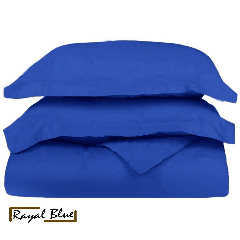 1-PC Soft Egyptian Cotton Duvet Cover 500-Thread-Count Solid Pattern ( Queen Size, Royal Blue )