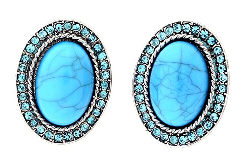 Marble OvalSimulated Rhinestone Clip-On Earrings - Turquoise