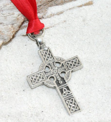 - Pewter Celtic Cross Triquetra Knot Christmas Ornament and Holiday Decoration