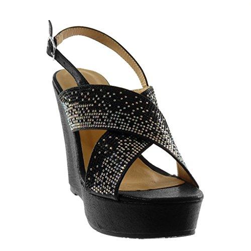 Plateauschuhe Mule Strass Keilabsatz Gekreuzte High Heel 12 Schuhe cm Riemen Angkorly Sandalen Schwarz 5 Glänzende Damen Knöchelriemen wAYXxE1q