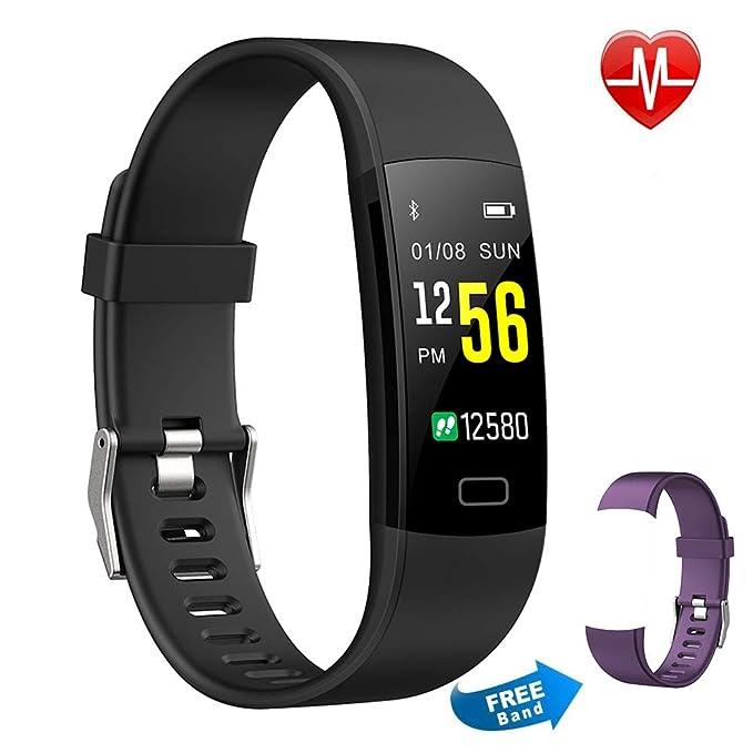 Pulsera Actividad Moson Reloj Deportivo Inteligente Pantalla Color Fitness Tracker con Monitor de Ritmo Cardíaco Las 24 Horas Impermeable IP68 Modos ...
