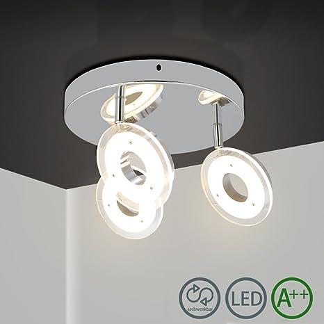JIANCHENG barra de focos para interior tubo spot en barra spot doble circular Lampara de techo blanco cálido para bar, comedor, dormitorio IP44 clase ...