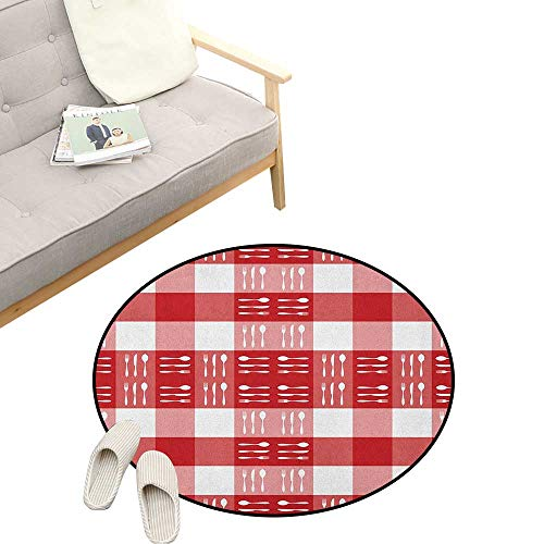 Checkered Round Rug ,Cutlery Silhouettes on Squares Dining Picnic Themed Tile Spoons Forks Knives, Art Deco Non-Slip Backing Machine Washable 31