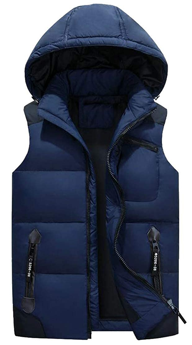 Cromoncent Men Hoodid Contrast Color Thicken Quilted Zipper Casual Jacket Down Vest