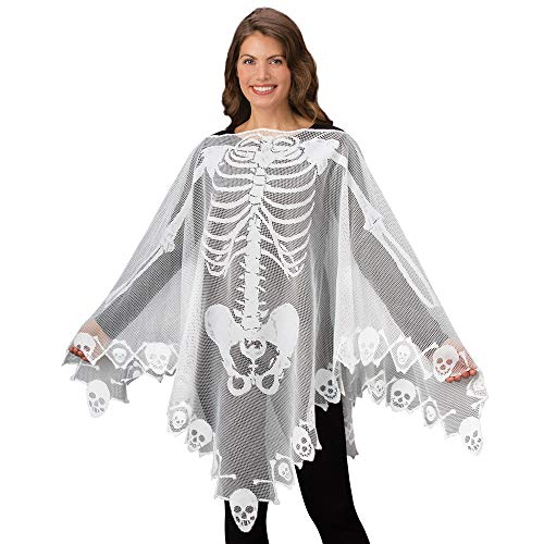 Clearance Sale!UMFun Halloween Skeleton Lace Shawl Woven Poncho Comfortable Light Weight Sheer Fabric Shawl (S)
