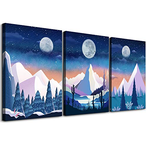 Abstract Mountain in stars of the moon Canvas Prints Wall Art for Living Room blue Abstract Landscape painting Wall Artworks Pictures Bedroom Decoration, 3 piece Home bathroom Wall decor posters