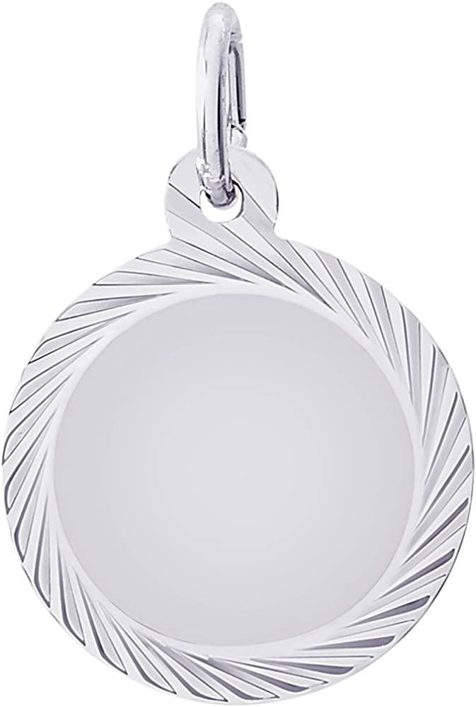 18 or 20 inch Rope Rembrandt Charms Sterling Silver Faceted Disc Charm on a 16 Box or Curb Chain Necklace