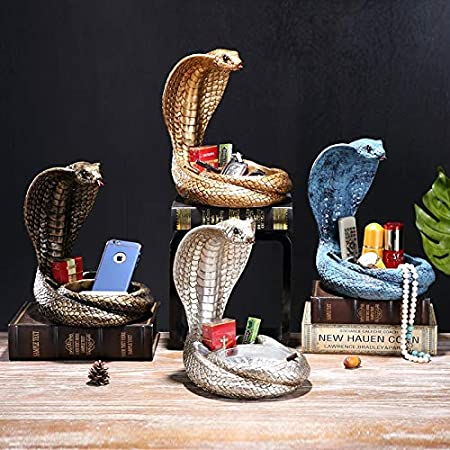 color : Gold, Size : 25 * 24 * 20CM desktop storage rack,for Outdoors Indoors Home Hotel,Nice Gift Chuen Lung Ashtray,Large art snake pattern