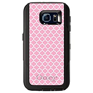 CUSTOM Black OtterBox Defender Series Case for Samsung Galaxy S6 - Pink White Moroccan Lattice