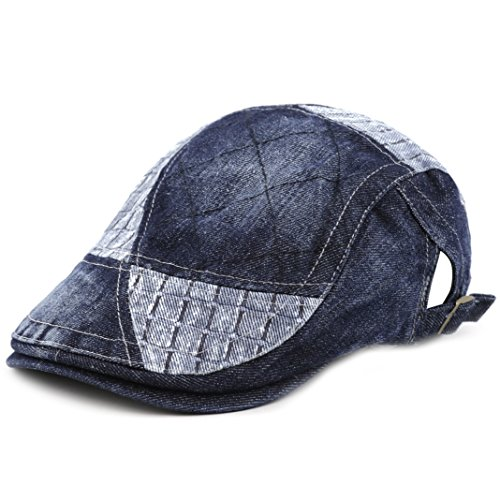 THE HAT DEPOT Cotton Washed Denim Newsboy Ivy Hat (Denim Blue 28) -
