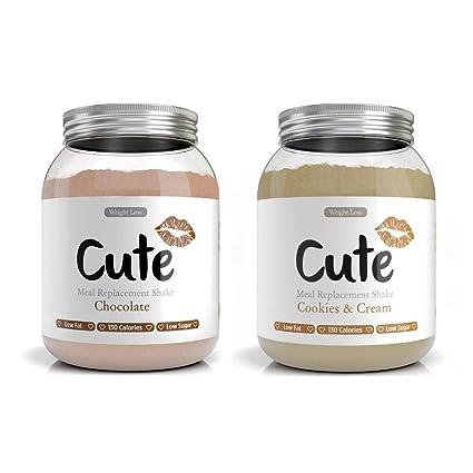 Cute Nutrition Chocolate y Galletas con Crema 2 Batidos de Reemplazo de Comidas Para el Control de la Pérdida de Peso Para Mujeres 2 Botes de 500g