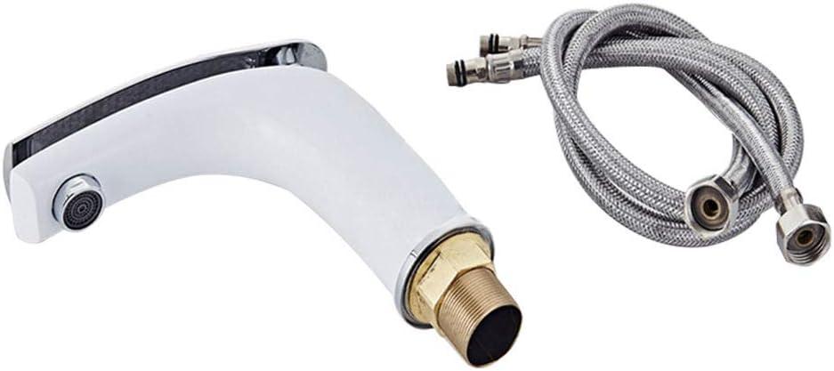 Fregadero de ba/ño de una sola palanca moderno Grifos de agua fr/ía//caliente con cuerpo de grifo de lat/ón Grifo mezclador para lavabo Cromo blanco Acabado cromado blanco