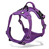 Chai's Choice Best Outdoor Adventure Dog Harness. 3M Reflective Vest with Handle and Two Leash Attachments.Caution Please Use Sizing Chart at Left Before Ordering! Matching (X-Small, Purple)