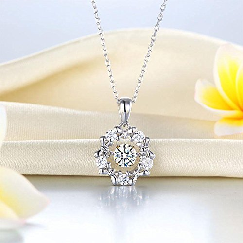Exquisite Selebrity Dancing Stone Pendant Necklace Solid 925 Sterling Silver Ribbon Flower 8089