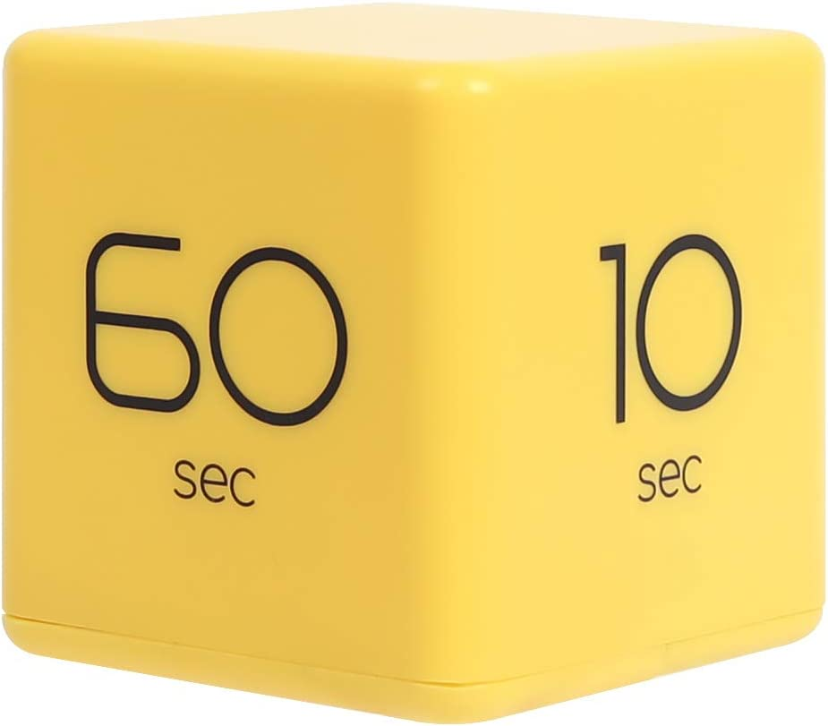 mooas Cube Timer 10, 20, 30 and 60 Seconds Time Management (Yellow), Kitchen Timer, Kids Timer, Workout Timer