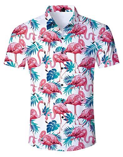Fanient Mens Fashion Palm Tree Hawaiian Shirt Flamingos Hawaiian Short Sleeves Button Down Shirts for Men Boys