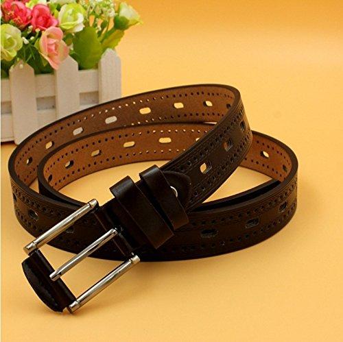 QIER-YD Pin buckle jeans belt Fashion tide men's and women's casual belt black 110cm