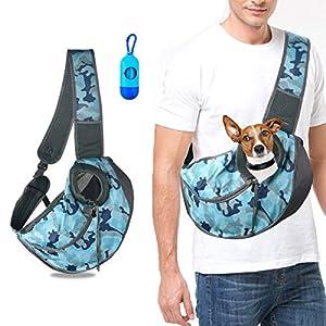 U-pick Pet Sling Carrier Bag - Reversible Hand-Free Travel Bag for Small&Medium Dog with Adjustable&Safety Strap 18
