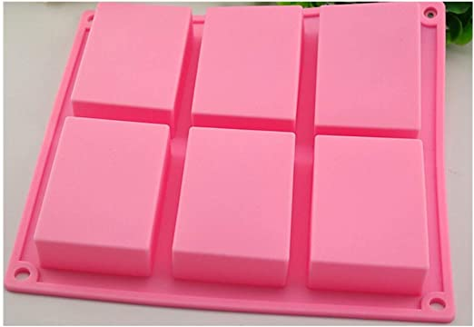 6 Cavity Plain Rectangle Soap Mold Silicone Craft Making Homemade Cake Set