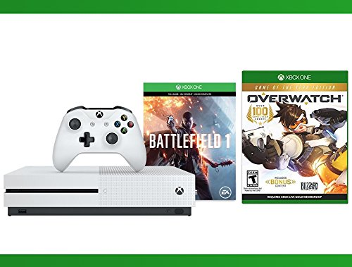 Xbox One S 500 GB Battlefield 1 Console + Overwatch - Game of the Year Edition + WWE 2K16 Bundle ( 3 - Items ) (Middle Earth Shadow Of War Gold Edition Content)
