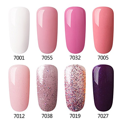 Gel Nail Polish Set Pink Glitter Colors, 8 Pcs,Soak Off UV LED Gel Polish Kit