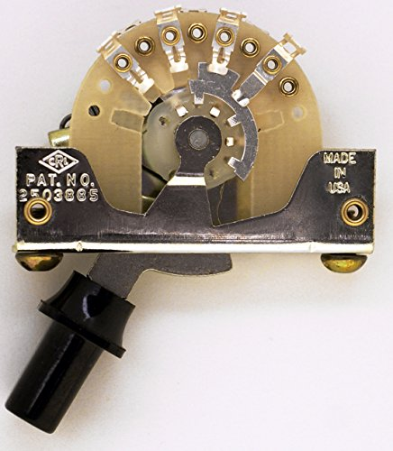 CRL 5-way Fender pickup selector with screws and switch tip in OEM box (Top Hat Black) ()