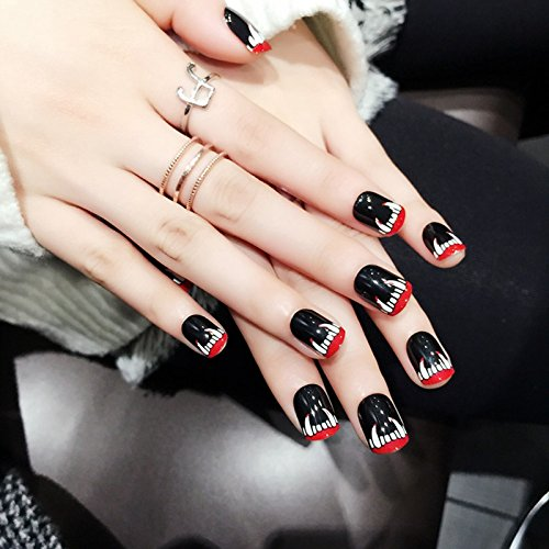 echiq Halloween corto Press On Nails Monstruo de colmillos falsos clavos negro brillante perfecto para fiestas 24pcs/Kit: Amazon.es: Belleza