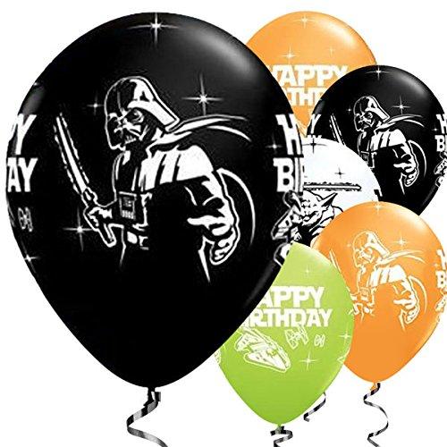 Juego de 25 globos de STAR WARS Yoda STAR WARS Darth vader calidad Qualatex 28 cm, diseño de colgante del Enanito Feliz cumpleaños cumpleaños