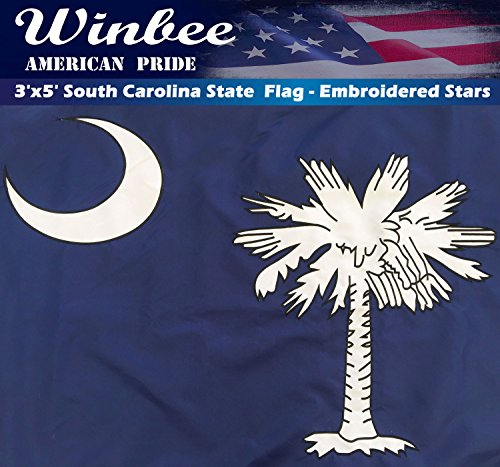 Winbee South Carolina State Flag 3x5 Ft - Double Sided Embroidered and 2 ply Nylon Perfect for Outdoor Use, Sewn Stripes, Sturdy Brass Grommets, UV Protected, US Flags South Carolina