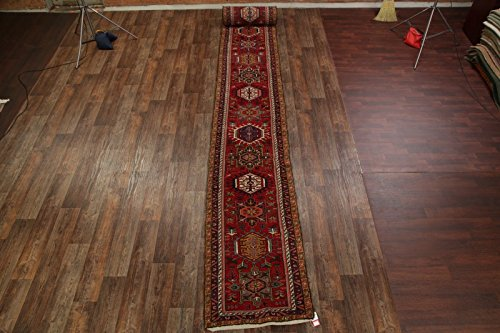 Gharajeh Persian Rugs - Rug Source 32 ft Extra Long Hand Knotted Gharajeh Vintage Persian Rug Runner for Hallway
