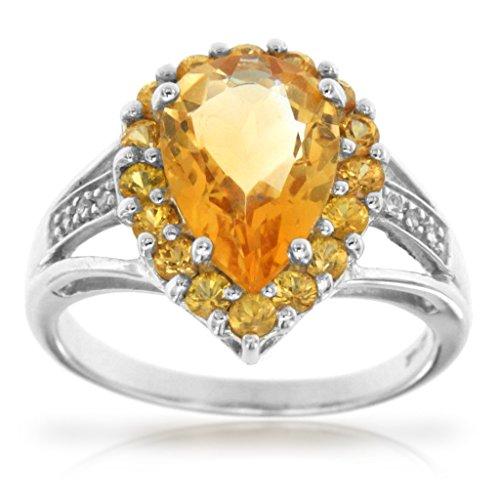 14k White Gold Pear Shape Citrine Gemsto - Diamond Forever Right Hand Ring Shopping Results