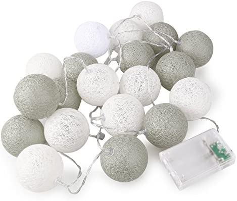 Rosenice Guirnalda luminosa con bolas de algodón, 20 LED ...