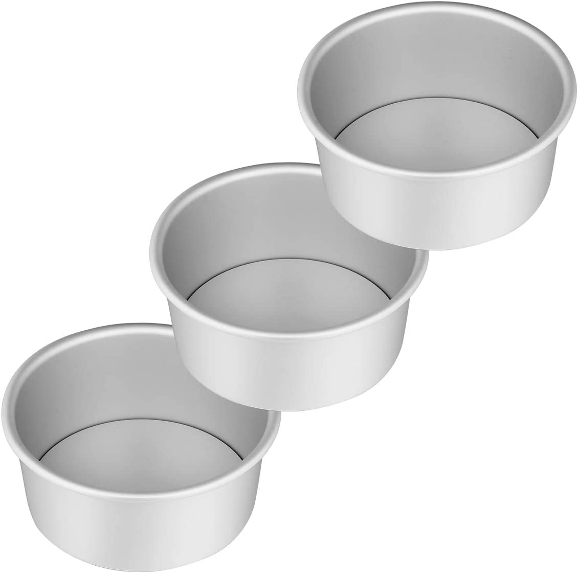 AIEVE 6 Inch Cake Pans, Set of 3 Durable Aluminum Round Cake Pans Cake Mold Baking Pan Cake Mould with Removable Bottom for Cheese Cake Chiffon Cake or Smash Cake in Home Party, Birthday and Wedding