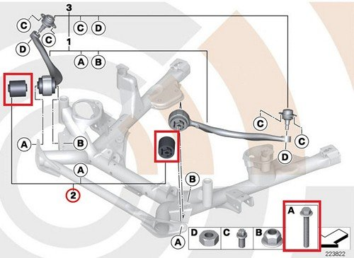BMW Genuine Set Rubber Mounting For Pull Rod E53 X5 3.0i X5 4.4i X5 4.6is X5 4.8is