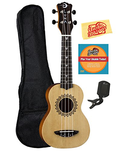 Luna Vintage Spruce Soprano Ukulele Bundle with Gig Bag, Tuner, Austin Bazaar Instructional DVD, and Polishing Cloth
