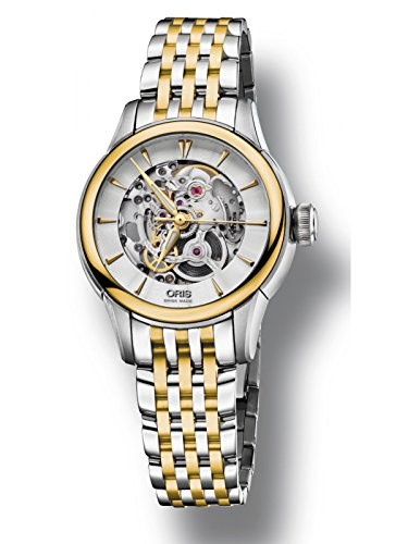 Oris Artelier Skeleton Yellow Gold Tone & Stainless Steel Women's Watch