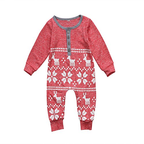 BiggerStore Baby Girl Boy Christmas Romper Jumpsuit Long Sleeve One-Piece Bodysuit Snowflake Deer Pajamas Outfit Clothes (0-6 Months, Red)]()