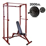 Best Fitness BFPR100 Power Rack with Folding Bench, 200lb. Weight Set
