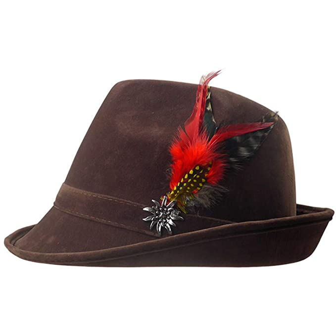 9f4a4e81227e37 German Hunter Brown Hat Fedora with Edelweiss & Feather for Men and Women  by E.H.G.