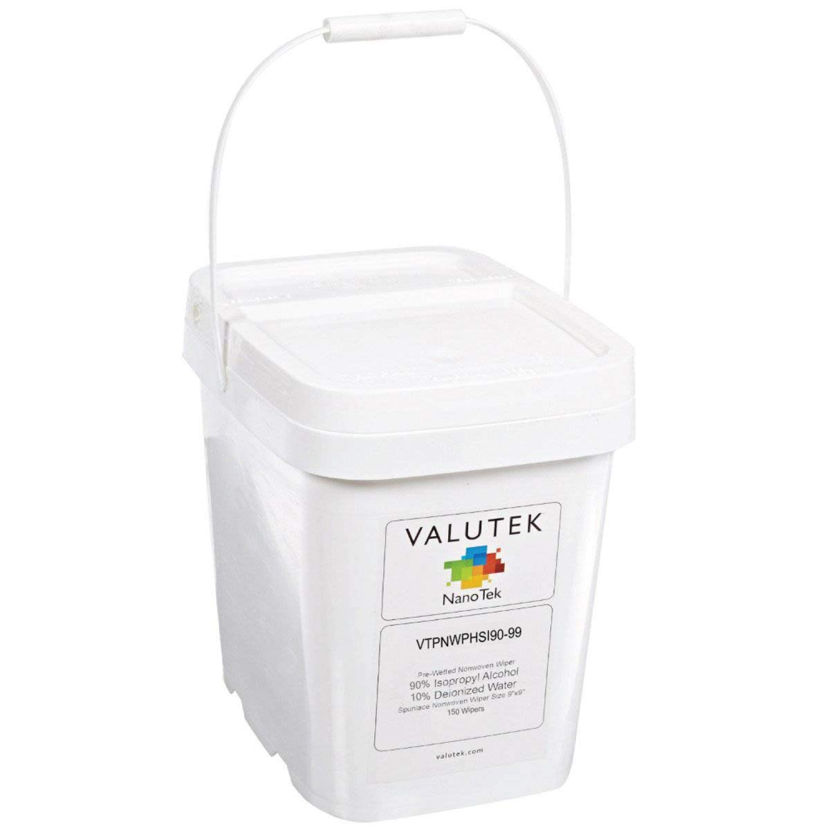 Valutek Pre-Wetted Polyester Wiper [90% Isopropyl Alcohol, 10% Deionized Water] 9''x9'' (150 Wipers + Pail)