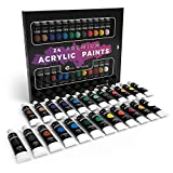 Castle Art Supplies Acrylic Paint Set for Beginners, Students or Artists, 12 ml Tube, Set of 24 Vivid Unique Colors