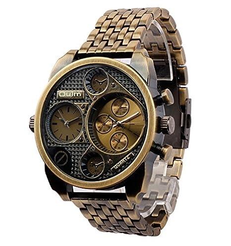 ufengke® dos zonas de tiempo antiguo acero inoxidable reloj de pulsera muñeca escala para los hombres,cobrizo: Amazon.es: Relojes