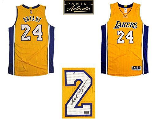 Signed Authentic Lakers Gold Jersey (Kobe Bryant Autographed/Signed Los Angeles Lakers Adidas Gold Authentic NBA Jersey - Panini)