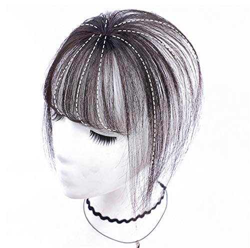 """Real Human Hair Clip on Bangs Topper 3D Hand Made Air Bangs Crown Wiglet Hairpieces for Women, 7"""" Off Black"""