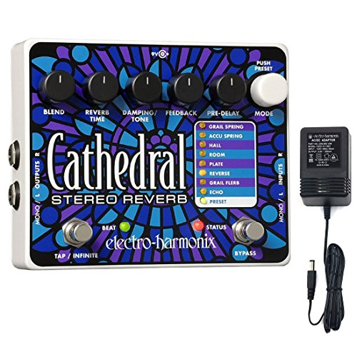 Electro-Harmonix CATHEDRAL Deluxe Stereo Reverb Guitar Pedal with power supply