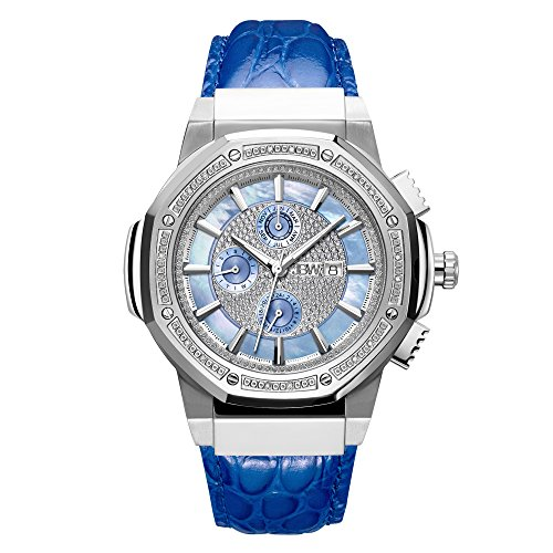 (JBW Men's 10-Year Anniversary Saxon 0.16 ctw Diamond Wrist Watch with Leather Bracelet)
