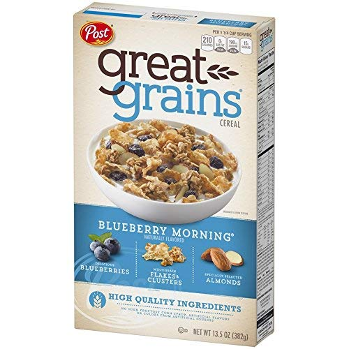Post Selects Blueberry Morning Cereal, 13.5-Ounce Boxes (Pack of 7)