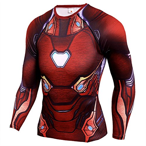 Mens Dri-Fit Compression Shirt,Super Heros Red Ironmen Sports Running Tee 3XL -