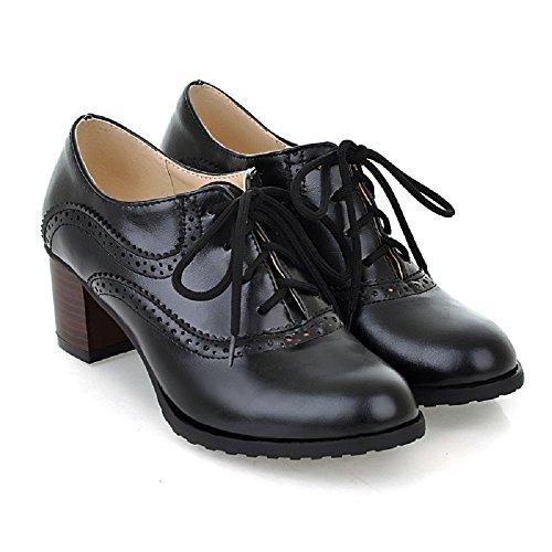 Classique Hope à Talon mi Femmes Rond Lacets Noir Derbies Bottines Wisteria Bottines empilé Bout FIdqfww1